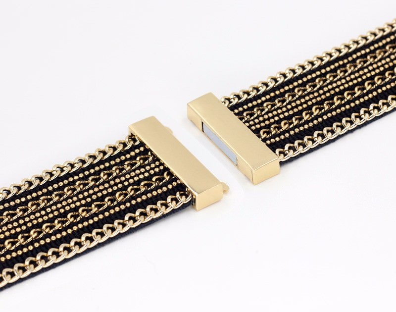 11555-758ce873c11133ade26c17f7f63e1839 Leather And Gold Chain Bracelet Bangle With Magnetic Clasps