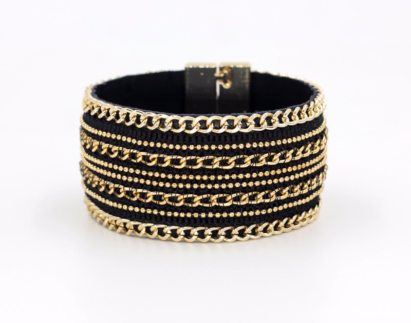 11555-779b845ecedb9da2b78b9955a679fc00 Leather And Gold Chain Bracelet Bangle With Magnetic Clasps