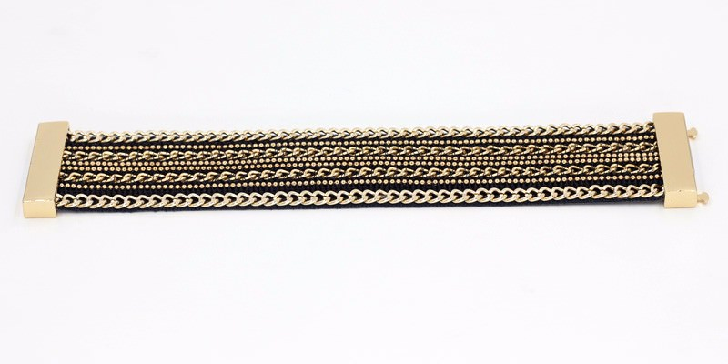 11555-7b5013896d7eaa15838cc03aa986fb78 Leather And Gold Chain Bracelet Bangle With Magnetic Clasps