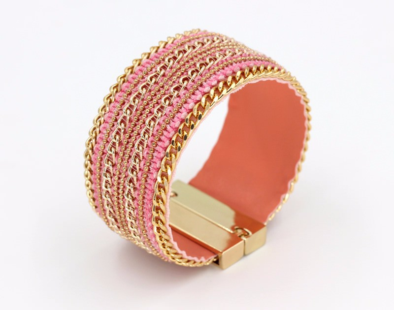 11555-a7a80a188a8a0e5d365c4dbffc65ab7d Leather And Gold Chain Bracelet Bangle With Magnetic Clasps
