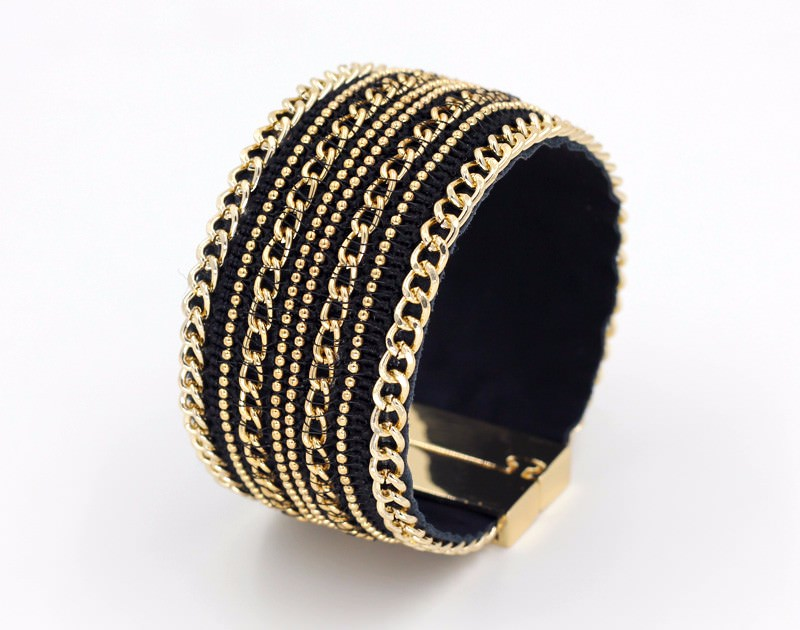 11555-c413c11df3ab280c65e4e4a5ba656529 Leather And Gold Chain Bracelet Bangle With Magnetic Clasps