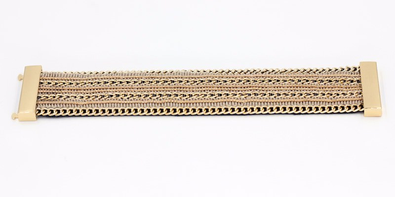 11555-eb97398ebdb0a1fdb9bd6733840a47d4 Leather And Gold Chain Bracelet Bangle With Magnetic Clasps