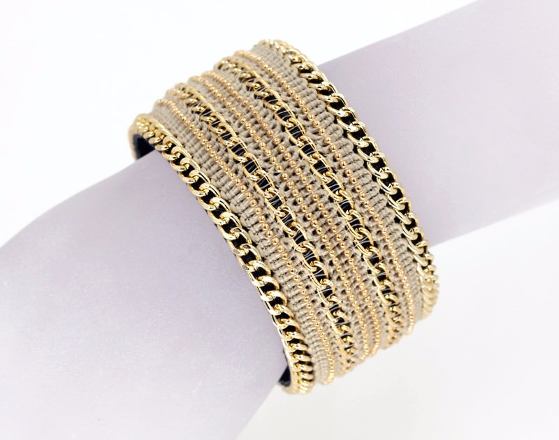 11555-fe763e7a92f876ed7477db33b22d128e Leather And Gold Chain Bracelet Bangle With Magnetic Clasps