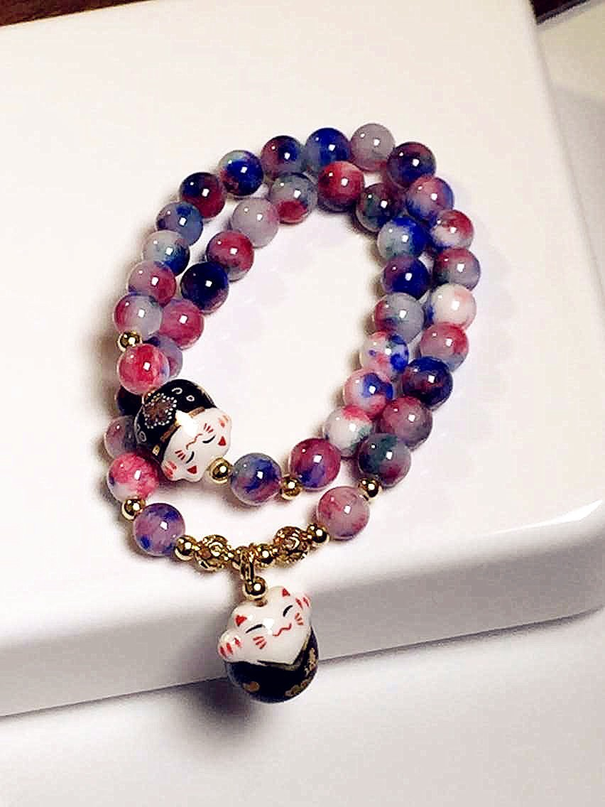 11556-47fa005f62f11c4422d21ef8792ef245 Lucky Cat Natural Stone Beaded Multilayer Bracelet