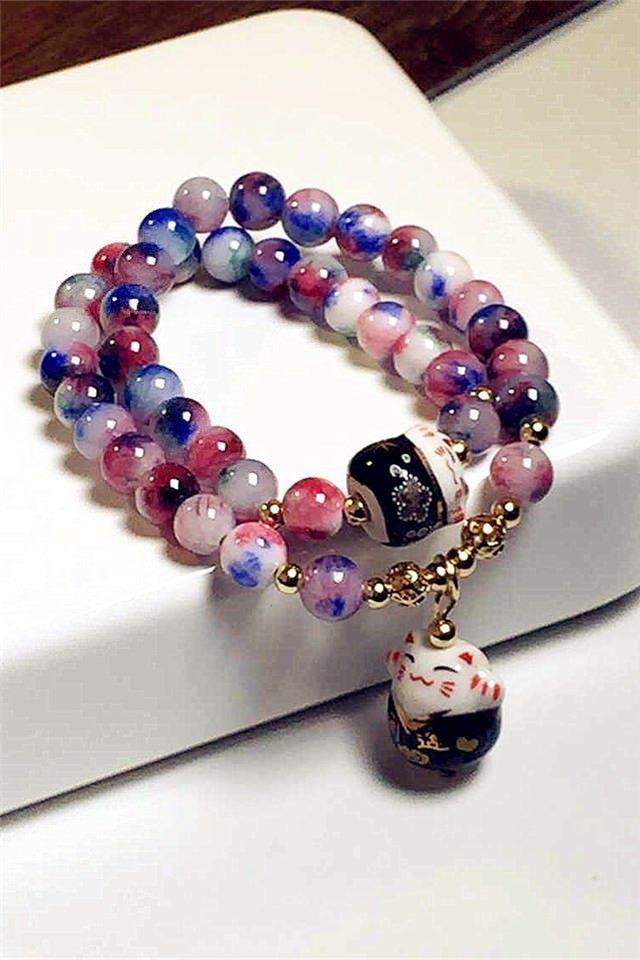 11556-5cba10160d8e920f21bcec920f4e84c1 Lucky Cat Natural Stone Beaded Multilayer Bracelet