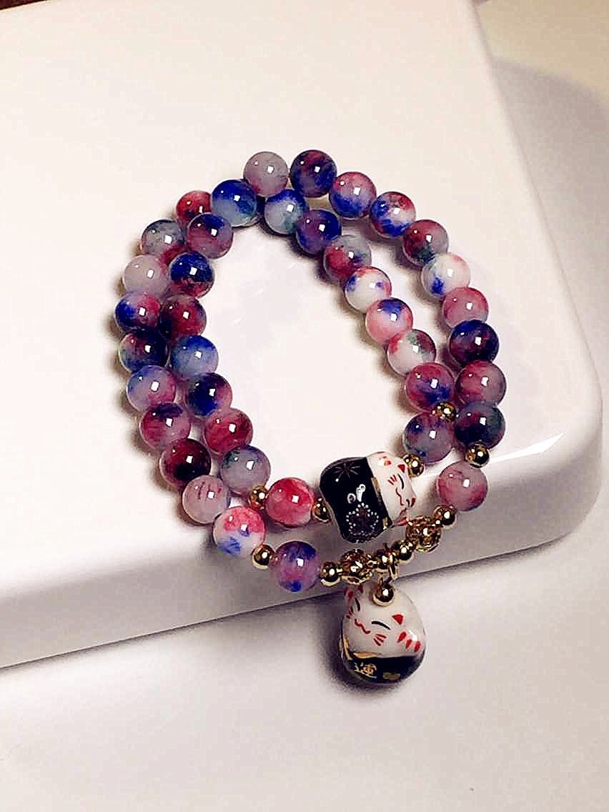 11556-77664ae6d41a70e6cd29d7decc7fb82b Lucky Cat Natural Stone Beaded Multilayer Bracelet