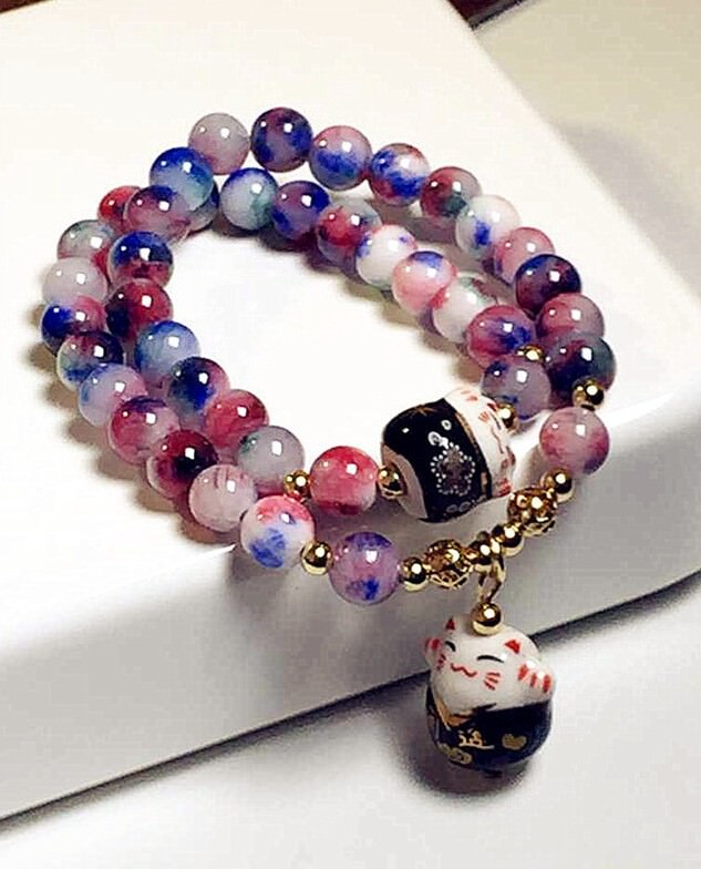 11556-e162fa199602fa14833e7af8d723ac20 Lucky Cat Natural Stone Beaded Multilayer Bracelet
