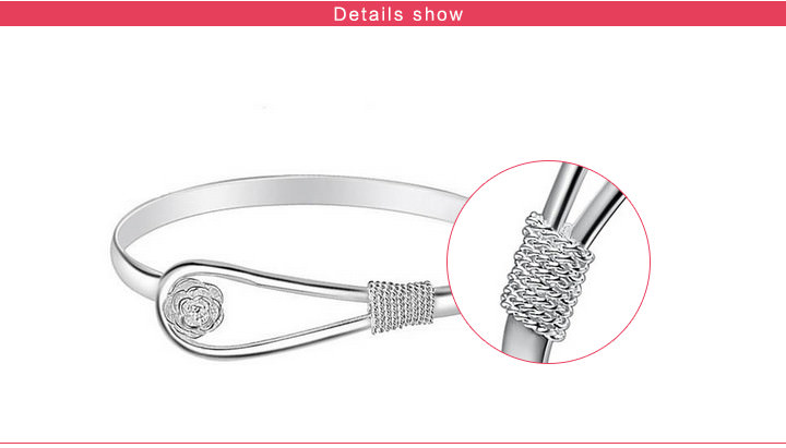 11557-16817619f3b9a2cd5b03112a585ef79a Romantic Flower Bangle Silver Bracelet Jewelry For Women