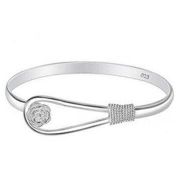 Romantic Flower Bangle Silver Bracelet Jewelry For Women