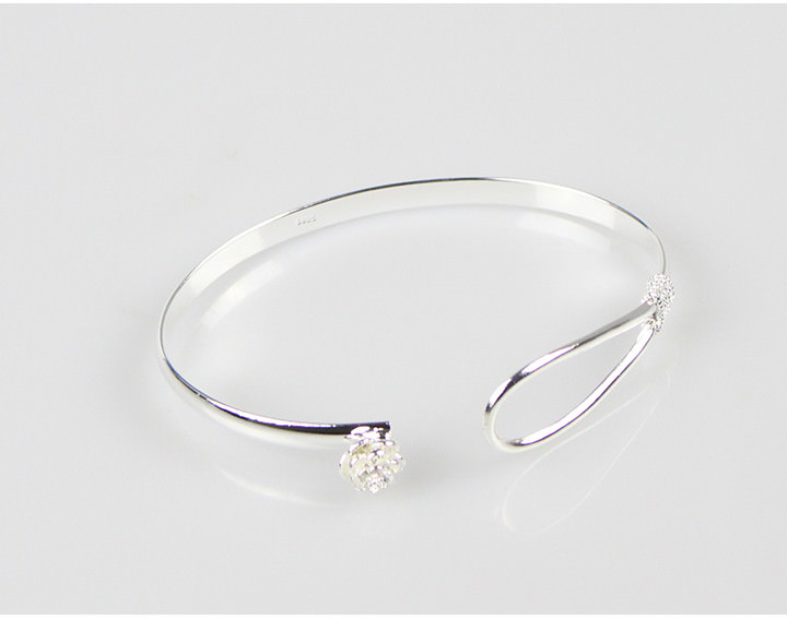11557-3d21053eef00558aaf68e56677310867 Romantic Flower Bangle Silver Bracelet Jewelry For Women