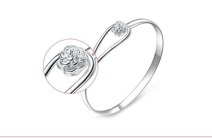 11557-a750cea5ee6da63099ca1b6bc6573cd5 Romantic Flower Bangle Silver Bracelet Jewelry For Women
