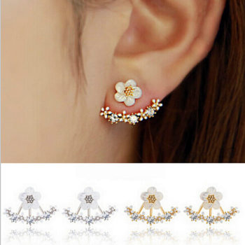Korean Floral Ear Jacket With Cubic Zircon Crystals