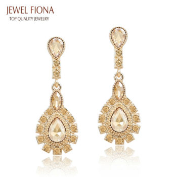 Elegant Peacock Tail Dangle Earring Jewelry With Crystals