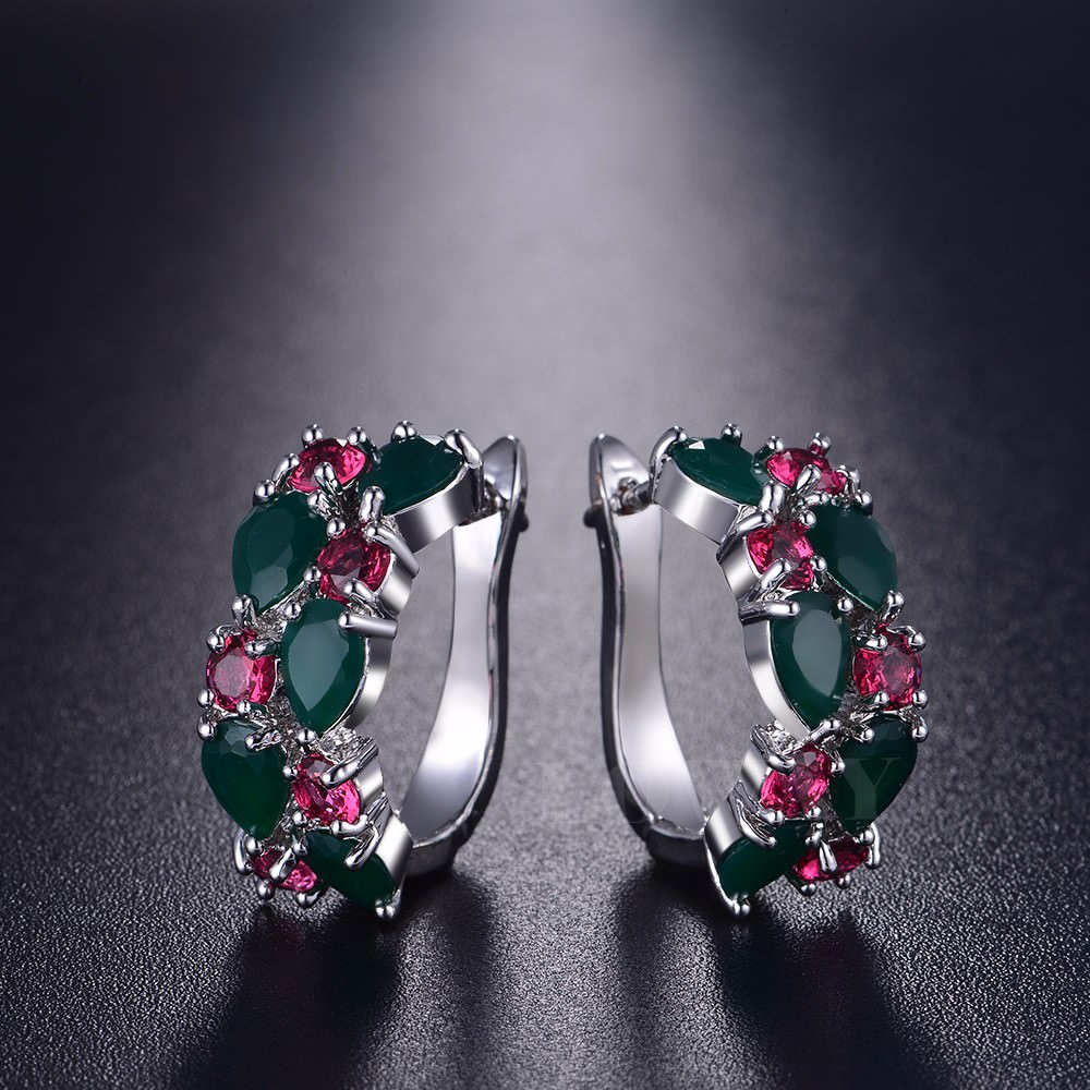 11563-39499604a73f38697f6c4ff578027170 LOWAY Multicolor Cubic Zircon Ring Hinged Earring Jewelry For Women