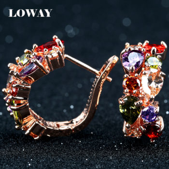 LOWAY Multicolor Cubic Zircon Ring Hinged Earring Jewelry For Women