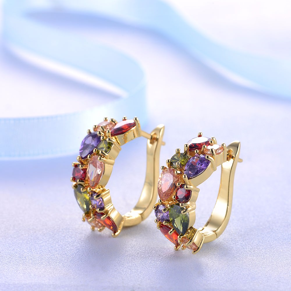 11563-39985af67c4f53f9afbbb8597eed7680 LOWAY Multicolor Cubic Zircon Ring Hinged Earring Jewelry For Women