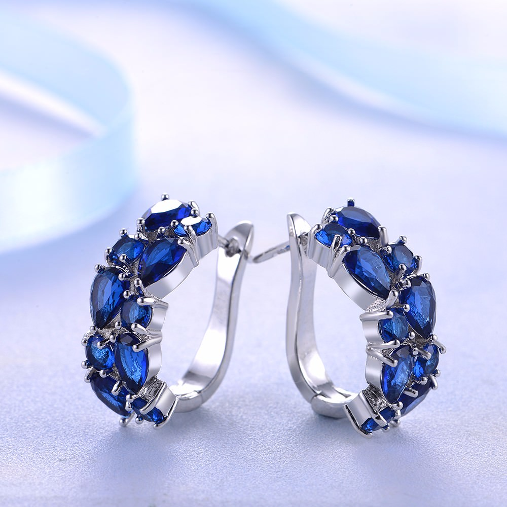11563-4053132275a7c6ad4a00c59ca883ea05 LOWAY Multicolor Cubic Zircon Ring Hinged Earring Jewelry For Women