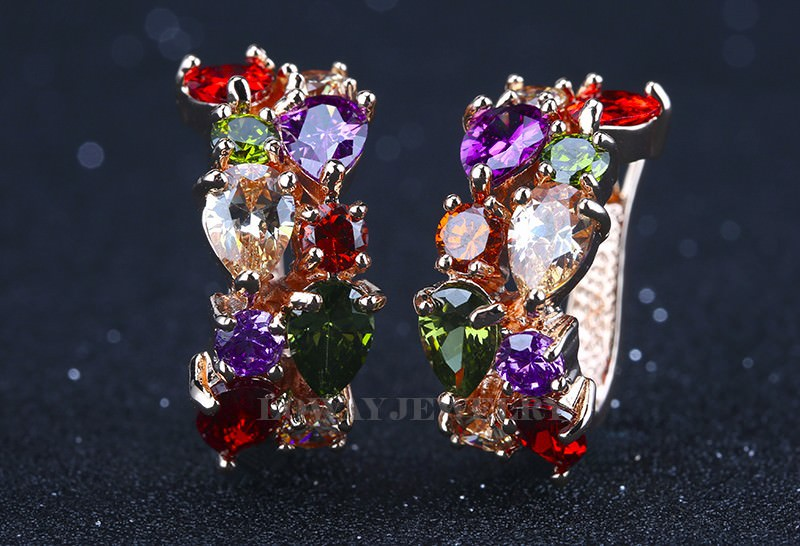 11563-8137d9821d06b437a8ccaa103a0e38d4 LOWAY Multicolor Cubic Zircon Ring Hinged Earring Jewelry For Women