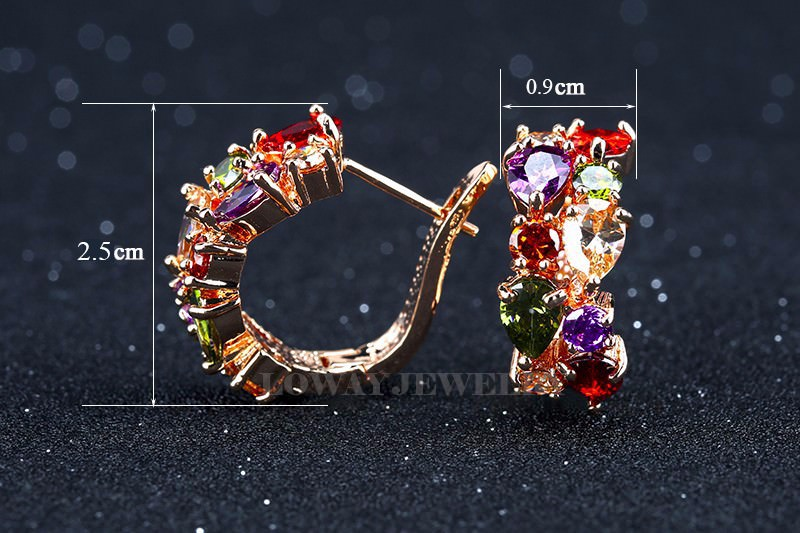11563-a5adaace57522ee48b046d085130af27 LOWAY Multicolor Cubic Zircon Ring Hinged Earring Jewelry For Women
