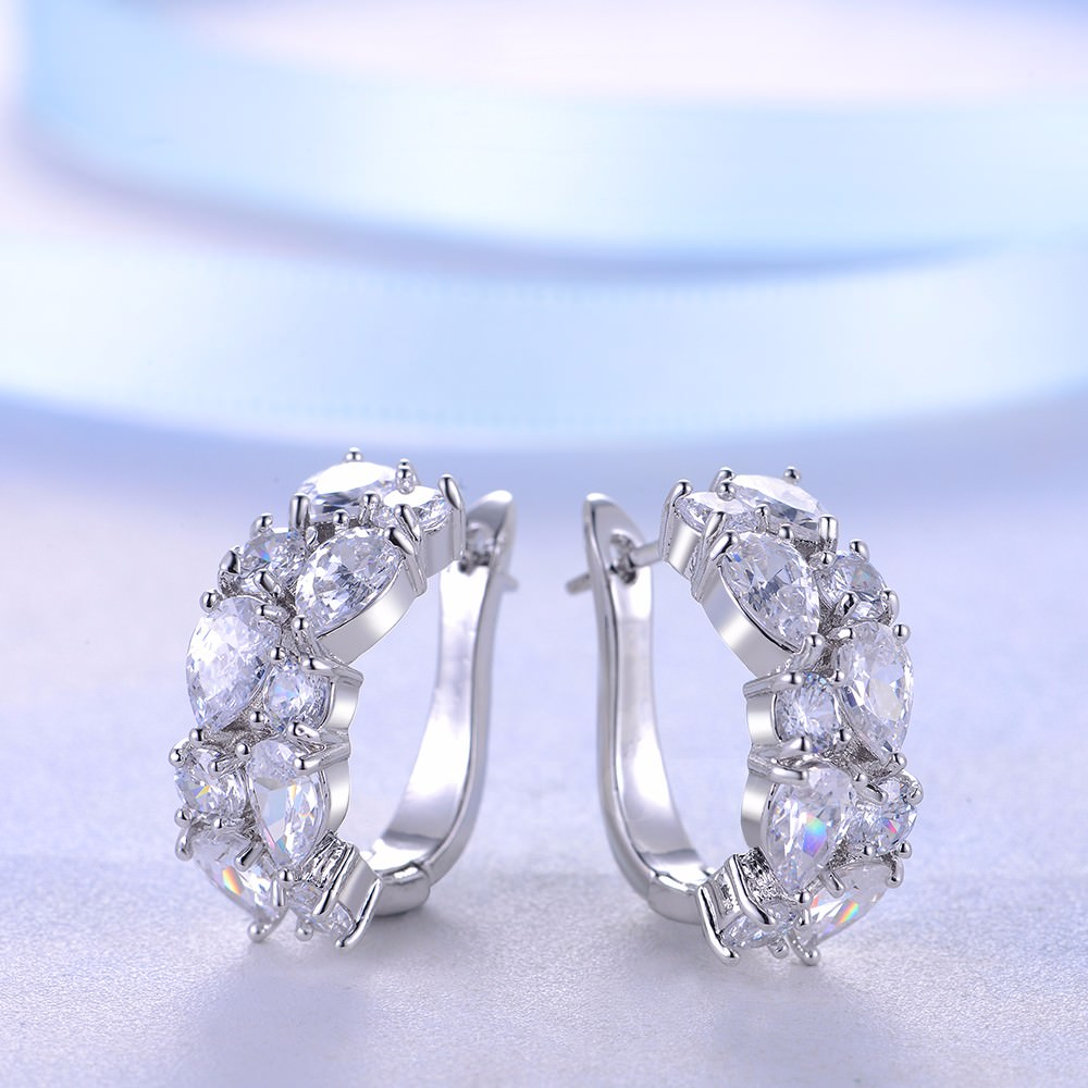 11563-bd764aa2118858353b3c80d4ae6e2700 LOWAY Multicolor Cubic Zircon Ring Hinged Earring Jewelry For Women