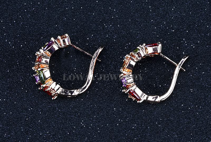 11563-c55e1b3bb8f719eec69be1ede922540b LOWAY Multicolor Cubic Zircon Ring Hinged Earring Jewelry For Women