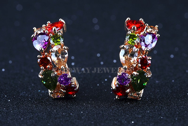 11563-de5da498f00aafc7ed36897d1dd76d9a LOWAY Multicolor Cubic Zircon Ring Hinged Earring Jewelry For Women