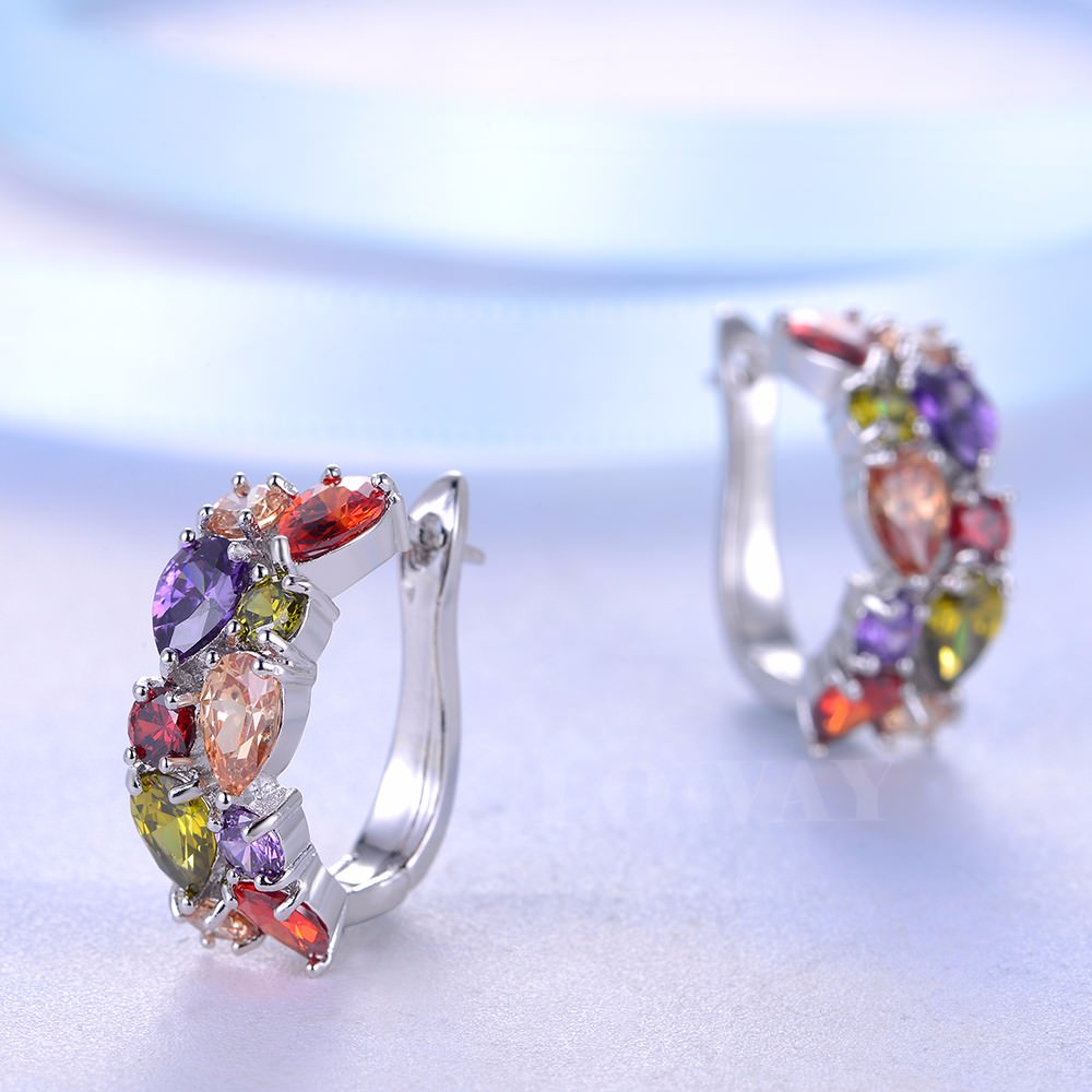 11563-e03d55f057e05b513aaed928f036c100 LOWAY Multicolor Cubic Zircon Ring Hinged Earring Jewelry For Women