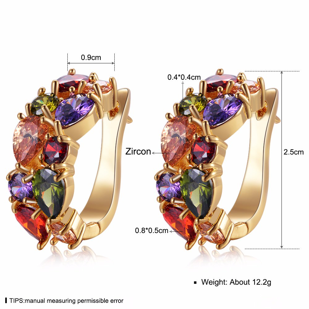 11563-ef77b709a7a99c7dd7bad716e68b68d5 LOWAY Multicolor Cubic Zircon Ring Hinged Earring Jewelry For Women