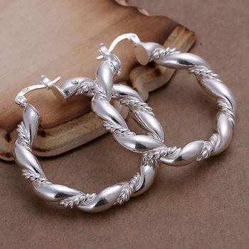 Trendy Twisted Rope Hoop Latch Back Earring Jewelry For Women