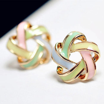 Interlaced Star Shaped Push Back Earring Jewelry For Women