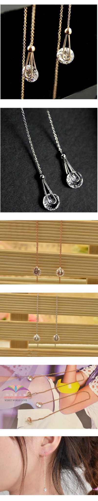 11569-785839468499bd84c8a5db775aac2f98 Italina Long Cubic Zirconia Earrings Chain With Push Back Closure