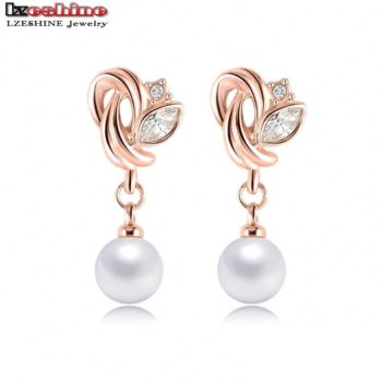 LZESHINE Pearl Drop Austrian Crystal Flower Earring Jewelry