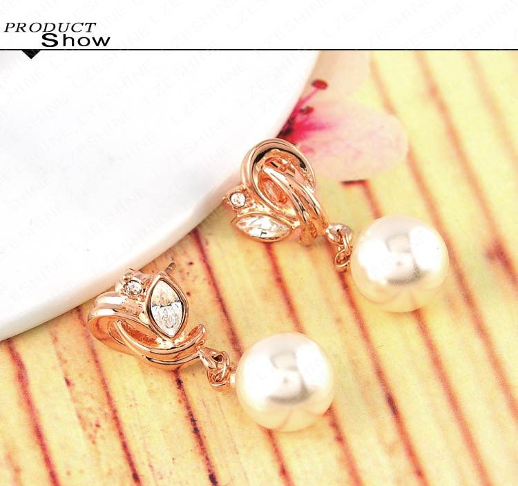 11570-60f513b79233c6079d5054a708cf5344 LZESHINE Pearl Drop Austrian Crystal Flower Earring Jewelry