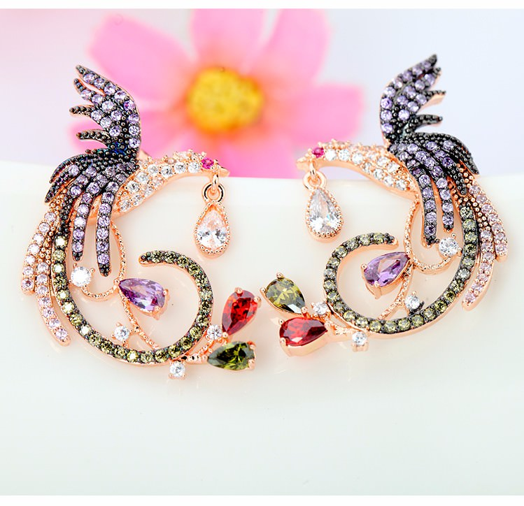 11571-8e8556426b3b53e9b228b8c03d50543b Gemmed Mystical Bird Push Back Earring Jewelry