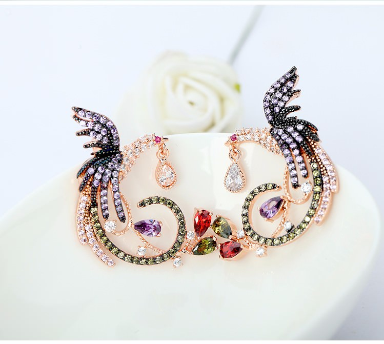 11571-c05194e5911b7cad6f47b970146f4450 Gemmed Mystical Bird Push Back Earring Jewelry