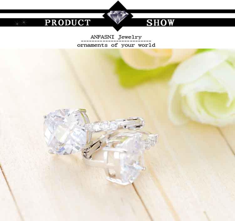 11572-07d0eedecae492e3abec021461ed65d5 ANFASNI Lever Back AAA Zircon Geometric Earring Jewelry For Women