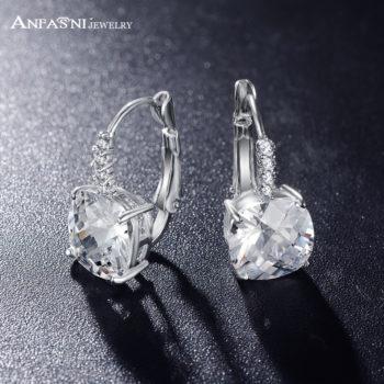 ANFASNI Lever Back AAA Zircon Geometric Earring Jewelry For Women
