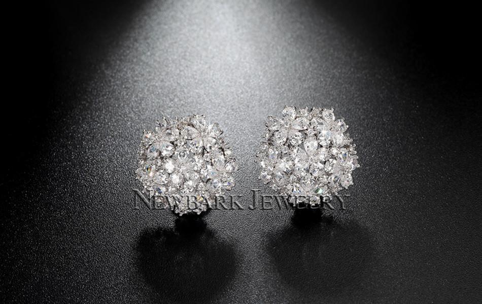 11574-055659e9857c73ae34fe846dae12012f NEWBARK Floral Lever Back Cubic Zirconia Diamond Earring Jewelry