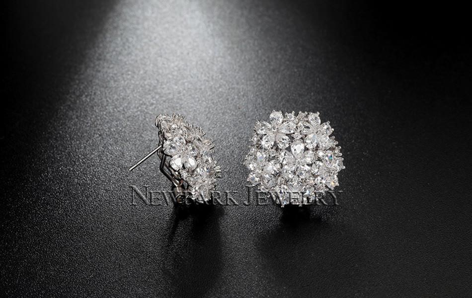 11574-1a8349a38de23aa7ebac8a909c12c351 NEWBARK Floral Lever Back Cubic Zirconia Diamond Earring Jewelry