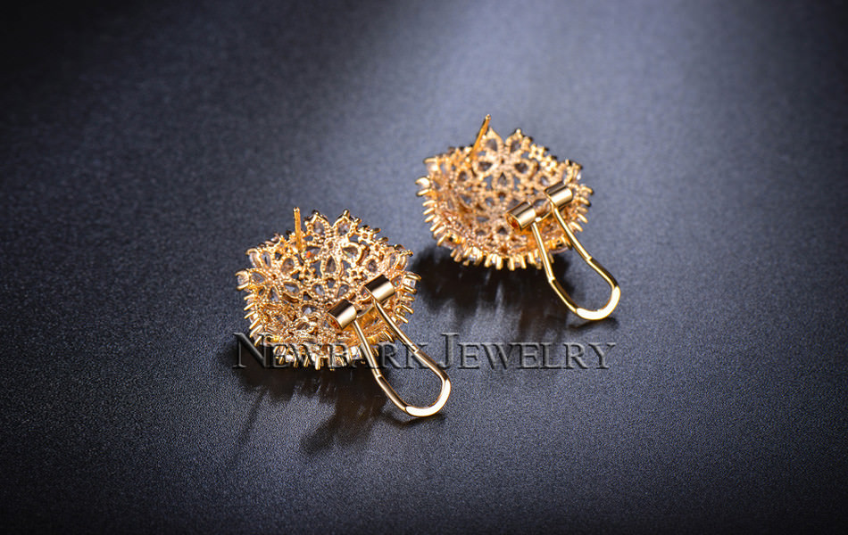 11574-3927f9bef17fb9f008231a536eb7b500 NEWBARK Floral Lever Back Cubic Zirconia Diamond Earring Jewelry
