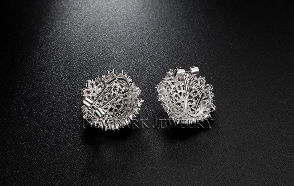 11574-51fed6cdd16f1ea89778673632ca3563 NEWBARK Floral Lever Back Cubic Zirconia Diamond Earring Jewelry