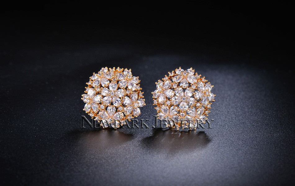 11574-5f55167940932f8b354e2067446756d5 NEWBARK Floral Lever Back Cubic Zirconia Diamond Earring Jewelry