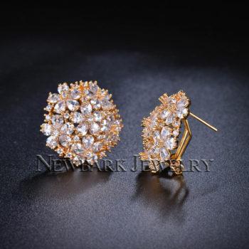 NEWBARK Floral Lever Back Cubic Zirconia Diamond Earring Jewelry