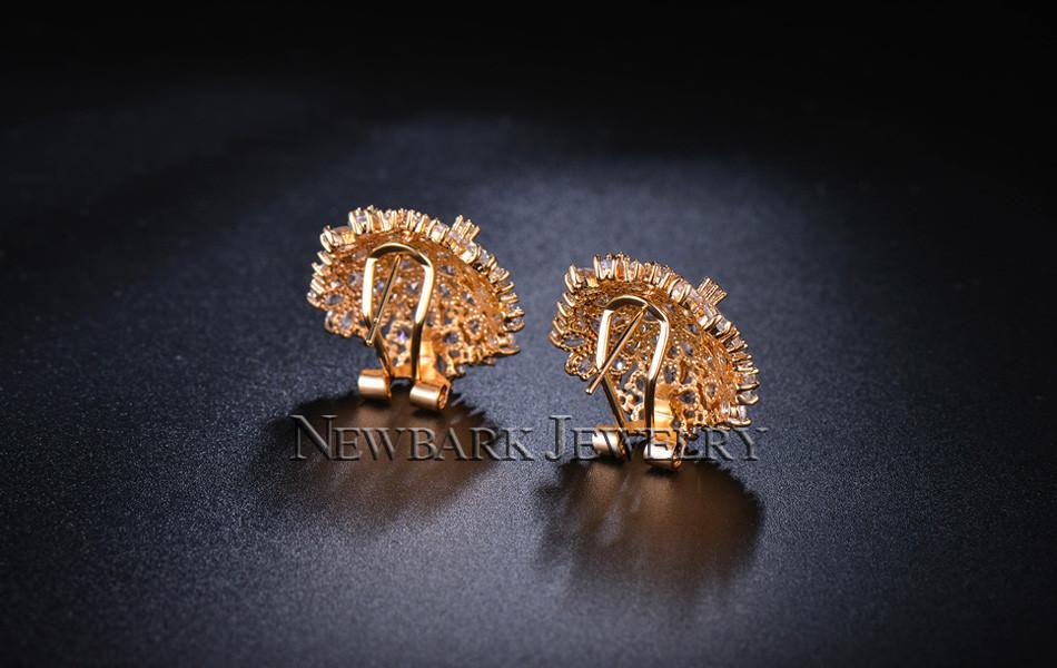 11574-b5aa9bb822529d554b9eb6fdd6990b61 NEWBARK Floral Lever Back Cubic Zirconia Diamond Earring Jewelry