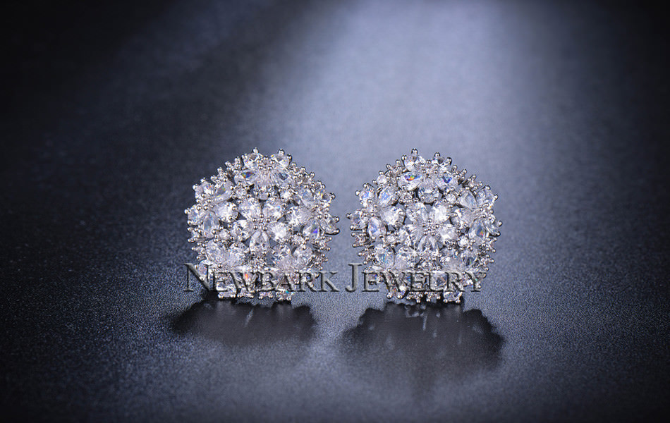 11574-bfcded601cdbf3a807c76c76929fd8d7 NEWBARK Floral Lever Back Cubic Zirconia Diamond Earring Jewelry
