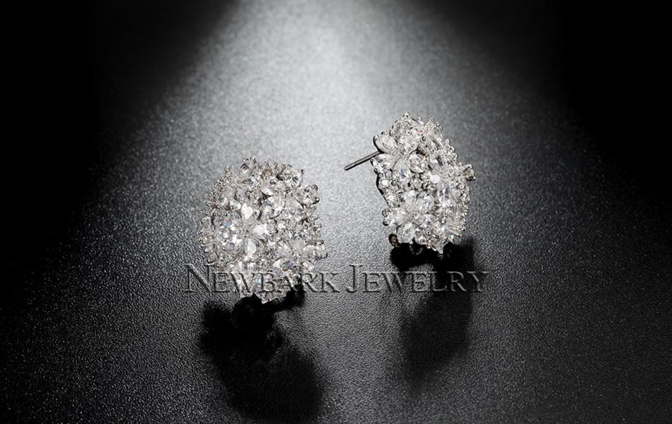11574-cba5138f04154117c39b86a02ef75acd NEWBARK Floral Lever Back Cubic Zirconia Diamond Earring Jewelry