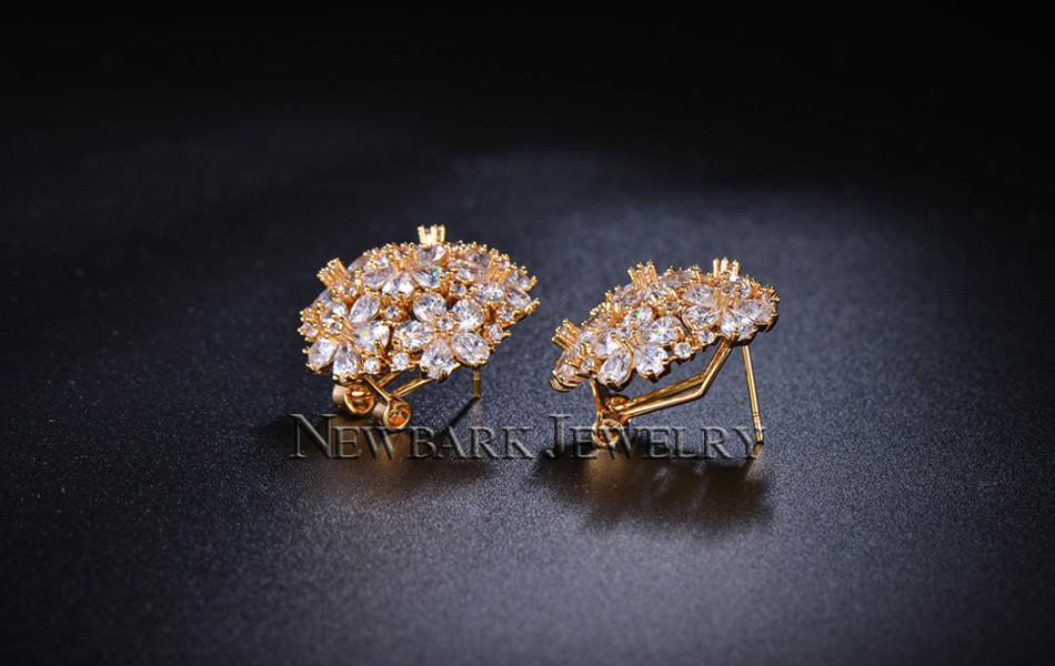 11574-e0dbf43883981c1274c862105b7fad4e NEWBARK Floral Lever Back Cubic Zirconia Diamond Earring Jewelry