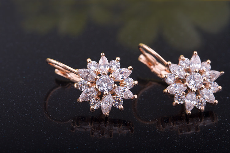 11575-2f8e3e1f4af635d8b8046592f9bfbbc3 BAMOER Luxury Gemmed Floral Lever Back Earring Jewelry