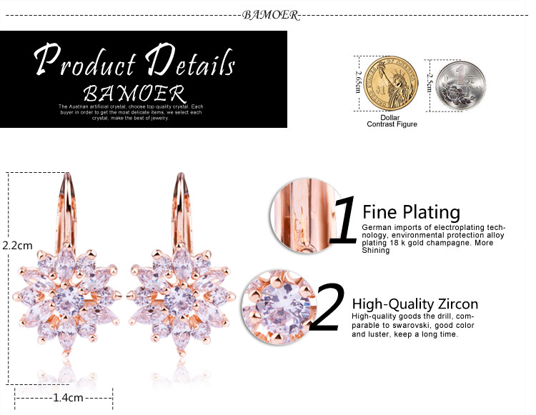 11575-7297f3ee331c87c934d41ae019df2868 BAMOER Luxury Gemmed Floral Lever Back Earring Jewelry