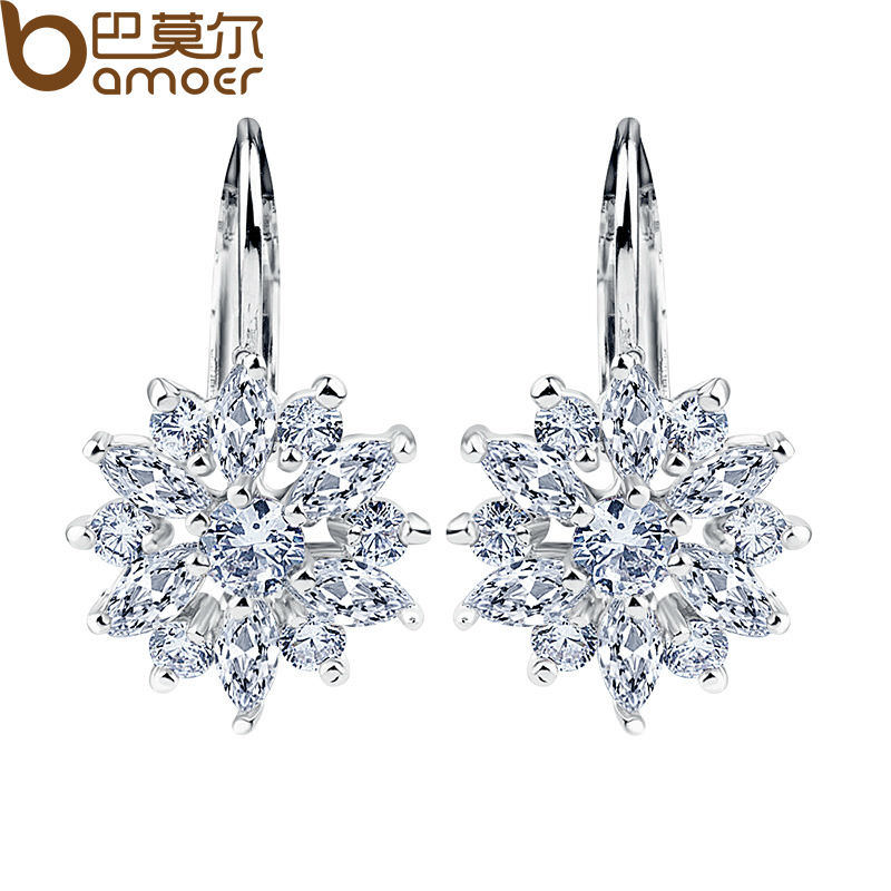 11575-e41270ad8d56eb416259bbbb05c79113 BAMOER Luxury Gemmed Floral Lever Back Earring Jewelry